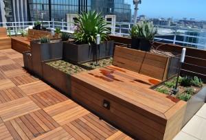 Modular Corten Steel Planters Roof Terrace Installation