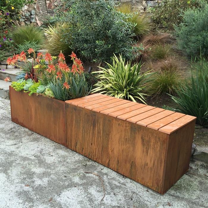 corten bench planter