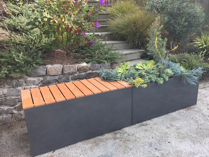 gray aluminum planter bench