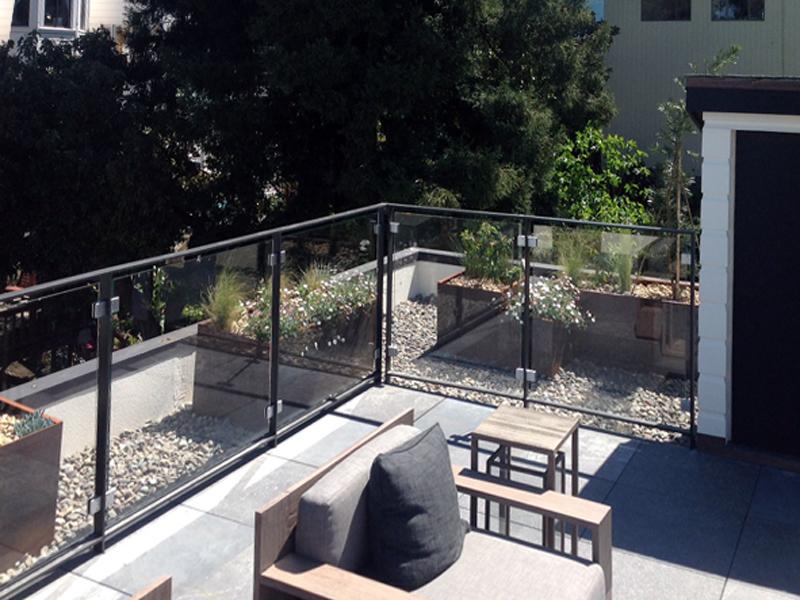 corten steel planter on patio in rock