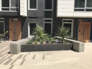Concrete and Corten Steel Garden Beds